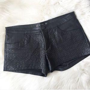 EUC Zara Stitch Detail Leather Shorts